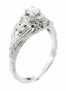 14 Karat White Gold Art Deco Diamond Filigree Engagement Ring - Item R404 - Image 1