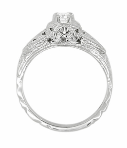 14 Karat White Gold Art Deco Diamond Filigree Engagement Ring - Item R404 - Image 2