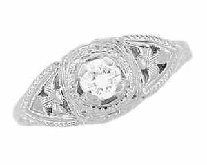 14 Karat White Gold Art Deco Diamond Filigree Engagement Ring - Click to enlarge
