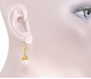 Victorian Pearl Drop Dangle Earrings in 15 Karat Gold - Click to enlarge
