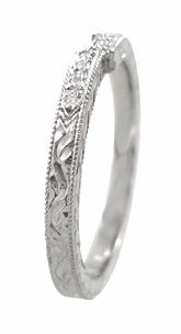 Art Deco Diamond Engraved Companion Wedding Ring in 18 Karat White Gold - Item WR283W1 - Image 1