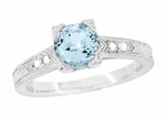 Art Deco 1 Carat Aquamarine and Diamonds Engraved Engagement Ring in 18 Karat White Gold