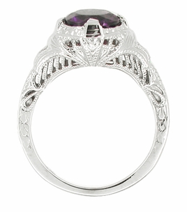 Amethyst Filigree Ring in 14 Karat White Gold - Item R232 - Image 1