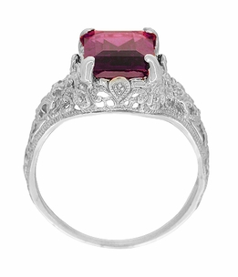 Filigree Emerald Cut Rhodolite Garnet Edwardian Engagement Ring in 14 Karat White Gold - Item R618G - Image 2