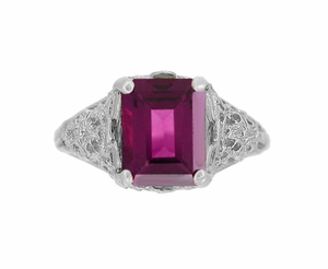 Filigree Emerald Cut Rhodolite Garnet Edwardian Engagement Ring in 14 Karat White Gold - Item R618G - Image 3