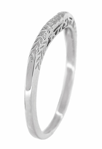 Art Deco Crown of Leaves Curved Filigree Engraved Wedding Band in 18 Karat White Gold - Item WR299W1 - Image 3