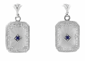 Art Deco Filigree Blue Sapphire and Diamond Crystal Earrings in Sterling Silver - Item E155 - Image 1