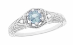 Art Deco Aquamarine and Diamond Filigree Engraved Engagement Ring in 14 Karat White Gold