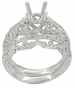 Borola 3/4 Carat Diamond Engagement Ring Setting and Wedding Ring in 18 Karat White Gold - Click to enlarge