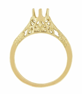 1/4 - 1/3 Carat Crown of Leaves Art Deco Filigree Engagement Ring Setting in 18 Karat Yellow Gold - Click to enlarge