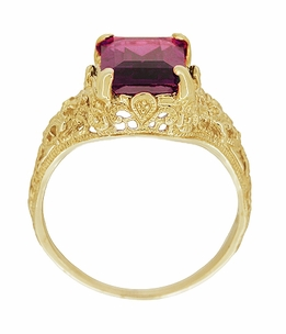 Edwardian Filigree Emerald Cut Rhodolite Garnet Engagement Ring in 14 Karat Yellow Gold - Item R618YG - Image 2