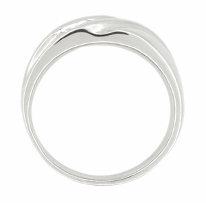 Vintage Retro Moderne Men's Diamond Set Wave Ring in 14 Karat White Gold - Item R450 - Image 1