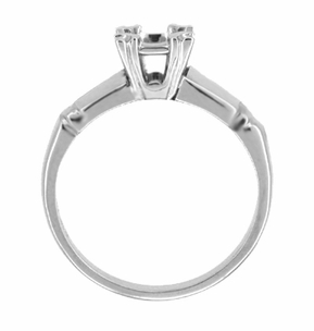 Mid Century 1/3 Carat Engagement Ring Mount in 14 Karat White Gold - Click to enlarge