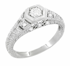 Filigree Engraved Art Deco Diamond Engagement Ring in 18 Karat White Gold | Low Profile Engagement - Item R646 - Image 1