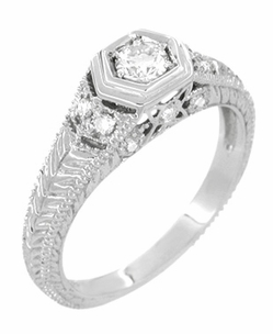 Filigree Engraved Art Deco Diamond Engagement Ring in 18 Karat White Gold - Click to enlarge