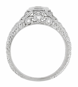 Filigree Engraved Art Deco Diamond Engagement Ring in 18 Karat White Gold | Low Profile Engagement - Item R646 - Image 3