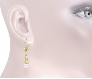 Victorian Pearl Drop Earrings in 14 Karat Yellow Gold - Item E150 - Image 1