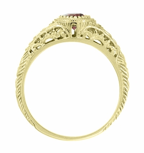 Art Deco Engraved Almandite Garnet and Diamond Filigree Engagement Ring in 18 Karat Yellow Gold - Click to enlarge