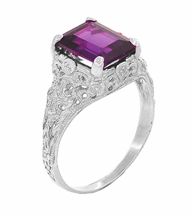 Edwardian Filigree Emerald Cut Amethyst Engagement Ring in Platinum - Click to enlarge