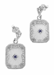 Art Deco Filigree Blue Sapphire and Diamond Crystal Earrings in Sterling Silver