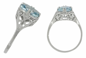 Art Deco Filigree Aquamarine Ring in Platinum - Item R418 - Image 1