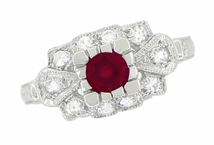 Ruby and Diamond Art Deco 18 Karat White Gold Engagement Ring - Item R880 - Image 1
