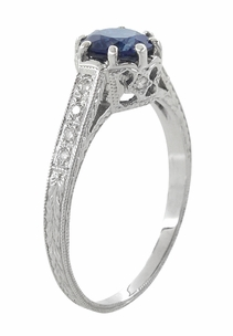 Art Deco Royal Crown 1 Carat Sapphire Engraved Engagement Ring in 18 Karat White Gold, Original 1920s Antique Sapphire Ring Design - Item R460S - Image 2