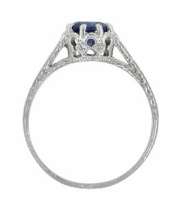 Art Deco Royal Crown 1 Carat Sapphire Engraved Engagement Ring in 18 Karat White Gold, Original 1920s Antique Sapphire Ring Design - Item R460S - Image 4