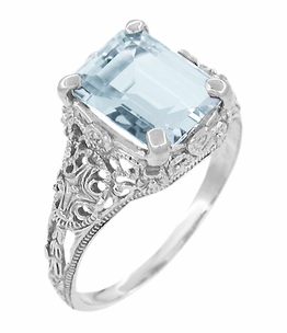 Emerald Cut Aquamarine Platinum Filigree Edwardian Engagement Ring - Item R618P - Image 1