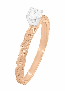 Art Deco Scrolls Diamond Engagement Ring in 14 Karat Rose Gold - Item R639RD - Image 2