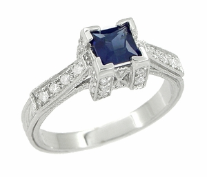 Art Deco 1/2 Carat Princess Cut Sapphire and Diamond Engagement Ring in 18 Karat White Gold - Item R661S - Image 1