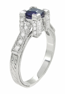 Art Deco 1/2 Carat Princess Cut Sapphire and Diamond Engagement Ring in 18 Karat White Gold - Click to enlarge
