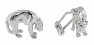 Panther Cufflinks in Sterling Silver - Item SCL195 - Image 1