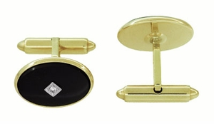 Mid-Century Oval Onyx and Diamond Vintage Cufflinks in 14 Karat Yellow Gold - Item GCL164 - Image 1