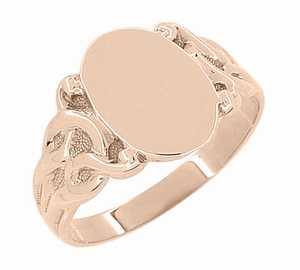 Art Nouveau Oval Signet Ring in 14 Karat Rose ( Pink ) Gold - Item R878R - Image 2