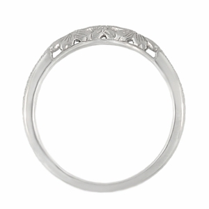 Art Deco Flowers and Wheat Engraved Filigree Wedding Band in Platinum - Item WR356P - Image 4