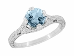 Art Deco Filigree Flowers and Wheat Engraved Aquamarine Engagement Ring in Platinum