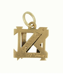 Antique Nu Sigma Nu Fraternity Charm in 14 Karat Yellow Gold - Click to enlarge