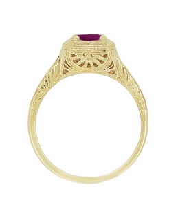 Art Deco Rhodolite Garnet Filigree Scrolls Engraved Engagement Ring in 14 Karat Yellow Gold - Click to enlarge
