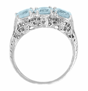 Edwardian Oval Trio Aquamarine Filigree Ring in 14 Karat White Gold - Item R190 - Image 1