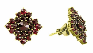 Victorian Bohemian Garnet Galaxy Stud Earrings in 14 Karat Yellow Gold and Sterling Silver Vermeil - Click to enlarge