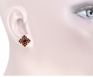 Victorian Bohemian Garnet Galaxy Stud Earrings in 14 Karat Yellow Gold and Sterling Silver Vermeil - Item E143S - Image 2