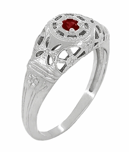 Art Deco Filigree Ruby Ring in 14 Karat White Gold - Item R698 - Image 1