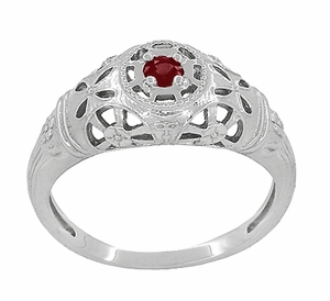 Art Deco Filigree Ruby Ring in 14 Karat White Gold - Item R698 - Image 2