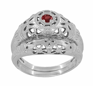 Art Deco Filigree Ruby Ring in 14 Karat White Gold - Item R698 - Image 5