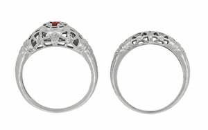 Art Deco Filigree Ruby Ring in 14 Karat White Gold - Item R698 - Image 7