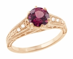 Raspberry Rhodolite Garnet and Diamond Filigree Engagement Ring in 14 Karat Rose ( Pink ) Gold