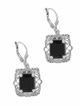 Art Deco Filigree Black Onyx Antique Style Earrings in Sterling Silver