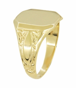 Mens Victorian Rectangular Signet Ring in 14 Karat Yellow Gold - Item MR119 - Image 1