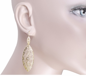 Art Deco Dangling Leaf Sterling Silver Filigree Diamond Earrings with Yellow Gold Vermeil - Item E171YD - Image 2
